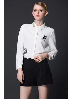 Elegant Floral Letter Embroidery Turn-Down Collar Long Sleeve White Blouse