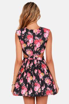 Brat Pack Black Cutout Floral Print Dress at LuLus.com!