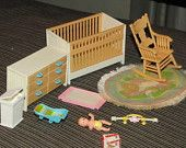Tomy Smaller Homes and Gardens  dollhouse miniature baby nursery furniture dolls house room. Rare. Good condition.