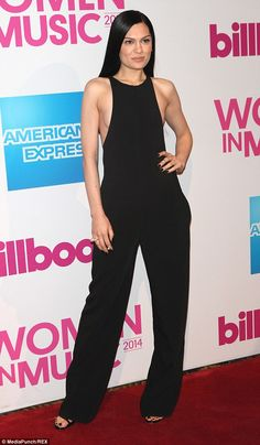 Daring: Jessie J showed off her ample chest on both sides in a daring cut-out jumpsuit at the Billboard Women in Music lunch in New York on Friday