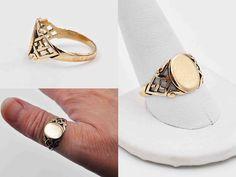 Antique Edwardian 10K Yellow Gold Filled Signet Ring, Gold on Sterling, Lattice, Scroll, Milgrain, Men's, Blank, Superb! #c136