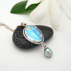 Tahitian Keishi Moonstone Slice Silver Pendant by MooreaDesign, $236.00