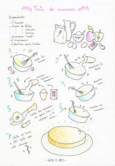 Una estupenda Tarta de manzana en una receta ilustrada a manos de Almu de Arte para Recetags. Cartoon Recipe, Food Clipart, Kitchen Images, Fabulous Foods, Food Illustrations, Flan, Stevia, Flyer Design, Brunch