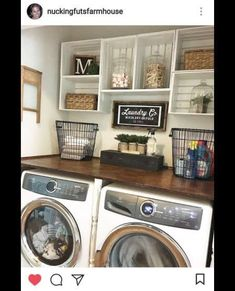 I like the wire baskets and open shelving and the wash board on the wall—Sorted By Stacy River House Decor, Farmhouse Laundry Room, Farmhouse Decor, Laundy Room, Laundry Room Inspiration, Farm House Colors, Crate Shelves, Laundry Room Design, Floor Decor