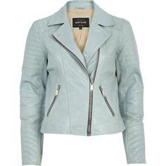{ Light blue leather biker jacket }