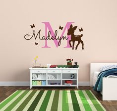 Personalized Name Decal Deer With Butterfly by NewYorkVinyl