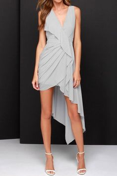 Grey V Neck Asymmetric Ruffle Dress Summer Dresses | RoseGal.com Mobile