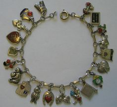 Antique Art Deco German 800 Silver & Enamel Heart Charm Bracelet w/ 20 Charms #Unbranded #ANTIQUEHEARTCHARMBRACLET