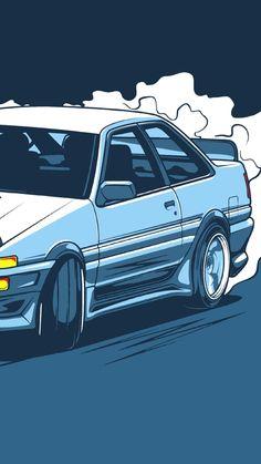 Cool Car Drawings, Jdm Stickers, Jdm Wallpaper, Street Racing Cars, Car Vector, Dope Wallpapers, Ae86, Rx7, Japan Cars