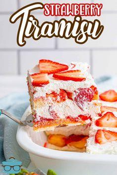 Cold Desserts, Summer Desserts, Cookie Desserts, No Bake Desserts, Easy Desserts, Delicious Desserts, Yummy Food, Strawberry Tiramisu, Strawberry Cakes