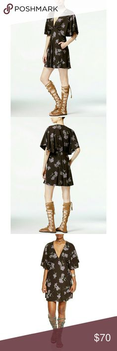 """New! FREE PEOPLE Floral Print Mini Dress V-Neck Rock this modern peasant dress from Free People, for a flirty look that works day or night.  * Brand New With Tags  * Floral bursts detail a soft, carefree knit * Plunging V-neckline * Flutter sleeves with drawstring accents * Two pockets at front * Lined * Hits above knee; About 33.5"""" from shoulder to hem * Rayon; lining: rayon * Machine washable * Retails for $128 Free People Dresses"""