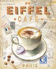 Eiffel Tower Cafe Canvas Art - Chad Barrett x Café Vintage, Vintage Coffee, Vintage Labels, Vintage Prints, Mocha Coffee, I Love Coffee, Coffee Cafe, Coffee Break, Coffee Shop