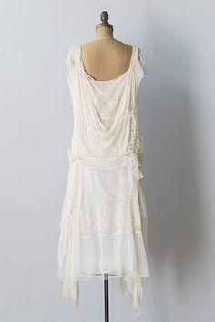 1920 Vintage Clothing | vintage 1920s ivory silk lace chiffon flapper dress