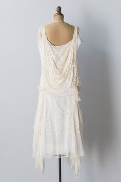 1920 Vintage Clothing | vintage 1920s ivory silk lace chiffon flapper dress