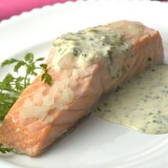 Oven poached salmon fillets.  easy
