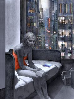 "Mania Efstathiou,""Hotel Room , revisited "" homage to Edward Hopper, digitally generated image printed on plexiglas Edward Hopper, Solitude, Digital, Prints, Image, Room, Bedroom, Rooms, Rum"
