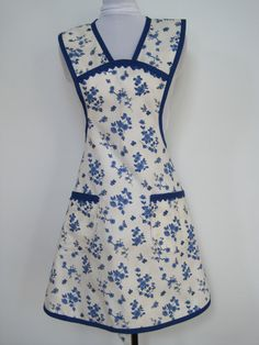 Vintage Style Porcelain Blue and White Flower Apron by MitzieAprons4u, listed on Etsy.com.