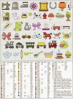 ♥ My Cross Stitch Graphics ♥: Mini Easy Motifs for Embroidery Just Cross Stitch, Cross Stitch Cards, Cross Stitch Baby, Cross Stitching, Cross Stitch Embroidery, Cross Stitch Designs, Cross Stitch Patterns, Crochet Chart, Needlework