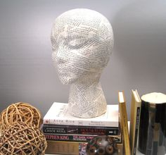 Book Lover Decoupage Mannequin Head Female Sculpture ~ Decoupage Sculpture, Vintage Book Pages, Decoupage Art Sculpture, Decoupage Decor