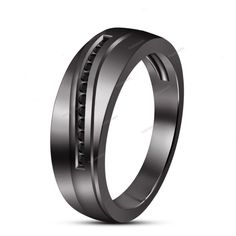 Stylish Men's Band Ring in 14K Black Gold Finish Round Multi-Stone Size 7 To 14…
