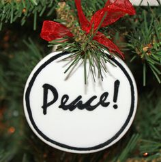 Handmade - Black & White Flat Ornament - Peace (Gifts for Christian Occasions / Christian Christmas Decor / Christian Christmas Ornaments) Ceramic Christmas Trees, Christmas Tree Ornaments, Christmas Decorations, Holiday Decor, Christian Christmas, Christian Gifts, White Flats, Diy Clay, Ceramic Pottery