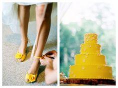 Yellow wedding cake! So unique. Love it