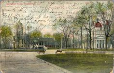 Here's a real throwback to a vintage postcard of Monroe Park at the turn of the last century.