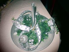 Centro de mesa verde y plata