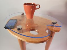 """OOAK Knotty Pine and Stainless Steel Accent Side by tablettebyAcey  A splendid combination of lacquered knotty pine top and legs paired with high polished stainless steel connectors and feet with a floating blue exotic edge acrylic top.  This """"One of a Kind"""" tablette arrives Fully Assembled and Ready to Use.   https://www.etsy.com/shop/tablettebyAcey"""