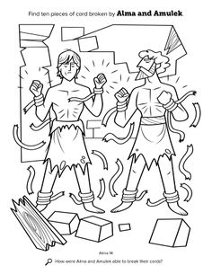 A line drawing showing Alma and Amulek breaking the cords as the prison crumbles.
