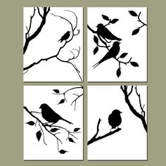Birds of a Feather Quad Set of Four 8 x 10 by Tessyla on Etsy, $65.00