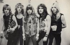 "Iron Maiden: Lineup circa ""Number of the Beast"" Adrian Smith (guitars), Clive Burr (drums), Bruce Dickinson (vocals), Steve Harris (bass), Dave Murray (guitars)"