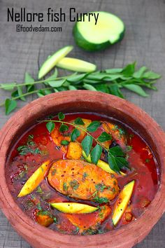 Nellore Fish Curry - How to make Andhra Mango fish Curry - Foodvedam Andhra Recipes, Goan Recipes, Veg Recipes, Curry Recipes, Easy Chicken Recipes, Seafood Recipes, Cooking Recipes, Indian Fish Recipes, Fried Fish Recipes