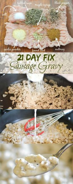 21 Day Fix Sausage Gravy - A healthy breakfast recipe! Day Fix Recipes Snack. - 21 Day Fix Sausage Gravy – A healthy breakfast recipe! Day Fix Recipes Snacks) - 21 Day Fix Diet, 21 Day Fix Meal Plan, 21 Day Fix Menu, 21 Day Fix Snacks, Healthy Breakfast Recipes, Healthy Eating, Healthy Recipes, Clean Eating, Top Recipes