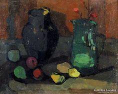 """Fischer Ernő : """"Korsók"""", 1961., Painting, Art, Art Background, Painting Art, Kunst, Paintings, Performing Arts, Painted Canvas, Drawings"""