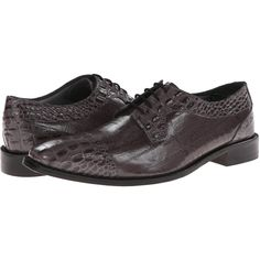 Stacy Adams Giancarlo (Gray Hornback & Eelskin Print Leather) Men's... ($50) ❤ liked on Polyvore featuring men's fashion, men's shoes, men's dress shoes, brown, mens cap toe shoes, mens grey shoes, mens brown leather shoes, mens crocodile shoes and mens brown dress shoes