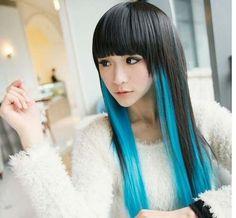 peluca larga negro azul turquesa lacia fleco de lado kanekalon cospl