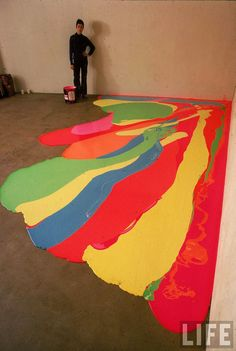Lynda Benglis! 1970 Photograph of the artist after pouring latex directly onto the gallery floor.  Benglis used the process of creating as an extension of the themes she was instilling in the finished work. the bright colours and organic forms are intended to disrupt the male-dominated minimalism movement with their suggestiveness and openness, a principle of Process art.