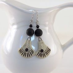 Black and Cream Rustic Ceramic Earrings  by CinLynnBoutique