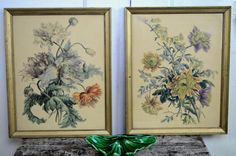 Pair Peony Prints Framed In Gold Vintage Botanical by fancypak