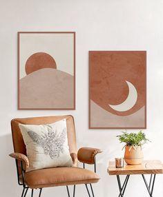 Sun and Moon Print Set of Abstract Landscape, Terracotta Printable Mid Century Modern Minimal Wal Moon Print, Deco Design, Cheap Home Decor, Art Decor, Decor Ideas, Art Ideas, Mid-century Modern, Canvas Art, Bedroom Decor