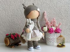 Julie Doll-Handmade Doll-Fabric Doll-Rag by NICEDOLLSANDRABBITS