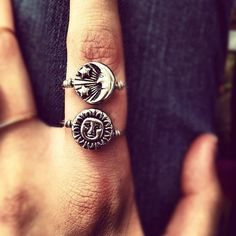 Reversible Silver Sun/Moon Ring // MADE TO ORDER ($10) ❤ liked on Polyvore