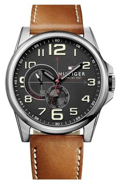 Tommy Hilfiger Round Leather Strap Watch, 46mm available at #Nordstrom