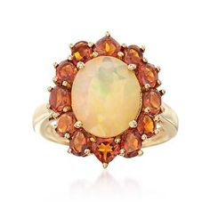 Ross-Simons - Opal and 2.50 ct. t.w. Orange Citrine Halo Ring in 14kt Gold Over Sterling - #836955