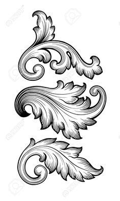 Illustration about Vintage baroque floral scroll set foliage ornament filigree engraving retro style design element vector. Illustration of corner, flourish, calligraphic - 48599497 Gravure Metal, Molduras Vintage, Filigree Tattoo, Ornament Drawing, Leather Tooling Patterns, Jugendstil Design, Tattoo Lettering Fonts, Symbol Tattoos, Mom Tattoos
