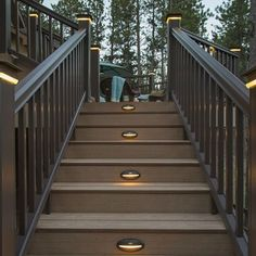 Stair lighting for deck Ultimate guide to landscape and backyard lighting ideas for We explain every type with photos and then have amazing photo gallery of the best landscape lights. Deck Stair Lights, Outdoor Stair Railing, Stair Lighting, Deck Stairs, Lighting Ideas, Dock Lighting, Decking Handrail, Decking Planks, Outside Stairs