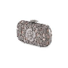 Floral Two Tone Crystal Clutch ($150) ❤ liked on Polyvore featuring bags, handbags, clutches, floral handbag, floral print handbags, chain strap purse, chain handle handbags and black handbags