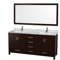 """Pooneh - given this one has legs and has a lot of drawers - do you think it could work if we didn't use the top drawer?  Wyndham Collection Sheffield 72"""" Double Bathroom Vanity Set with Mirror & Reviews 