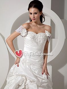 Ivory A-Line Puffy Sweetheart Corset Taffeta Pleated Long Ball Gown - US$ 241.19 - Style BG0227 - BigBallGowns
